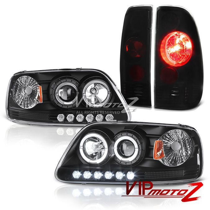 For 97 03 Ford F150 Black Led Halo Projector Headlights Rear Brake Tail Lights Ebay Ford F150 Projector Headlights Truck Accessories