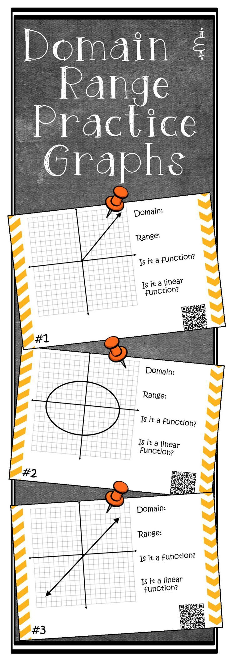 Domain and Range Task Cards PDF & Digital Algebra