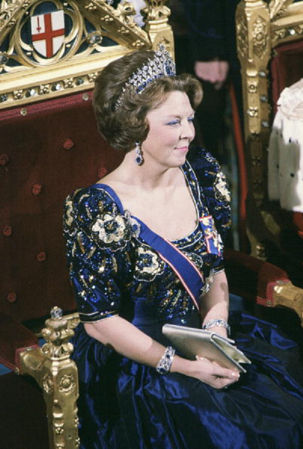 Wearing the Queen Emma sapphire Mellerio tiara used today by Queen Maxima! HM Queen Beatrix Of The Netherlands At The Guildhall In London on 17 Nov 1982