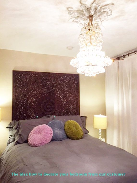 Thai Queen Bed Headboard 60 5ft White Round Lotus Flower Mandala Wooden Hand Craved Carving Teak Wood Art Panel Wash Wall Home Decorative Headboards For Beds Headboard Washing Walls