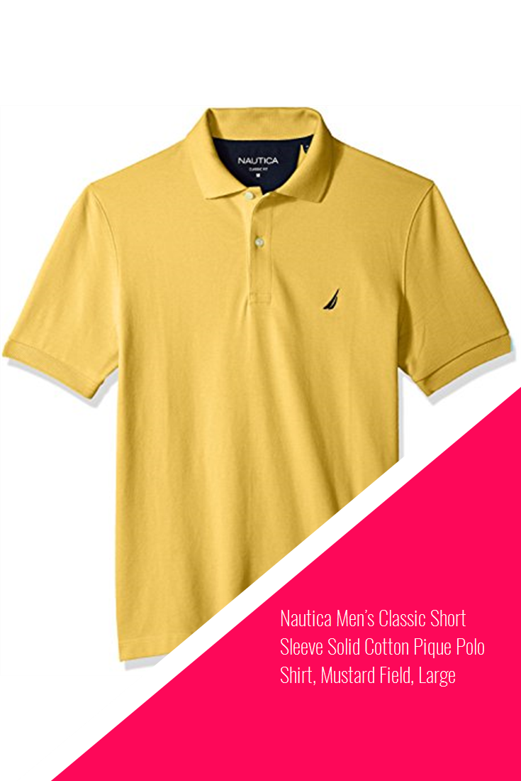 ed291f7ed1fdaa Nautica Men's Classic Short Sleeve Solid Cotton Pique Polo Shirt, Mustard  Field, Large #new