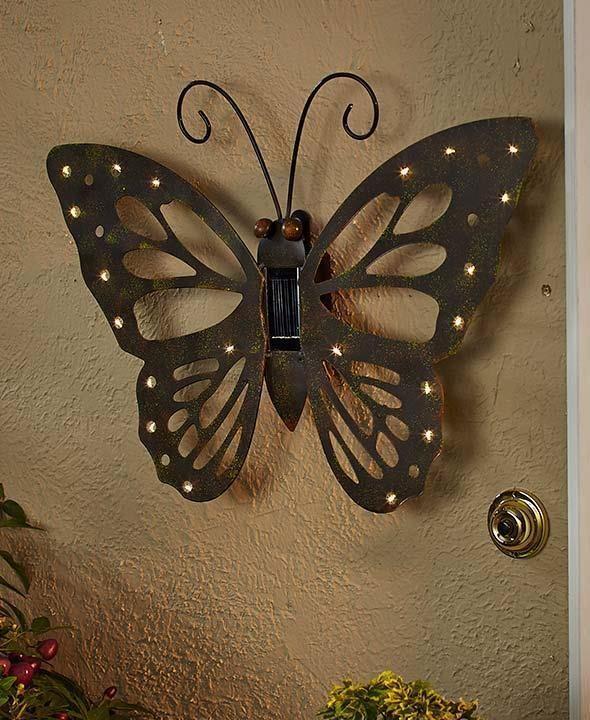 Solar Erfly Outdoor Wall Decor Rustic Design Led Lights Garden Patio Tbd