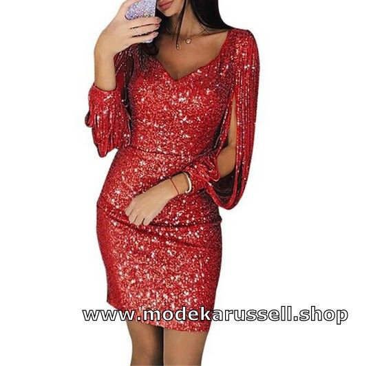 Bodycon Bleistift Etui Shiny Pailletten Kleid in Rot in ...