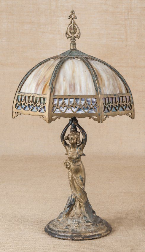 Slag glass table lamp, early 20th century
