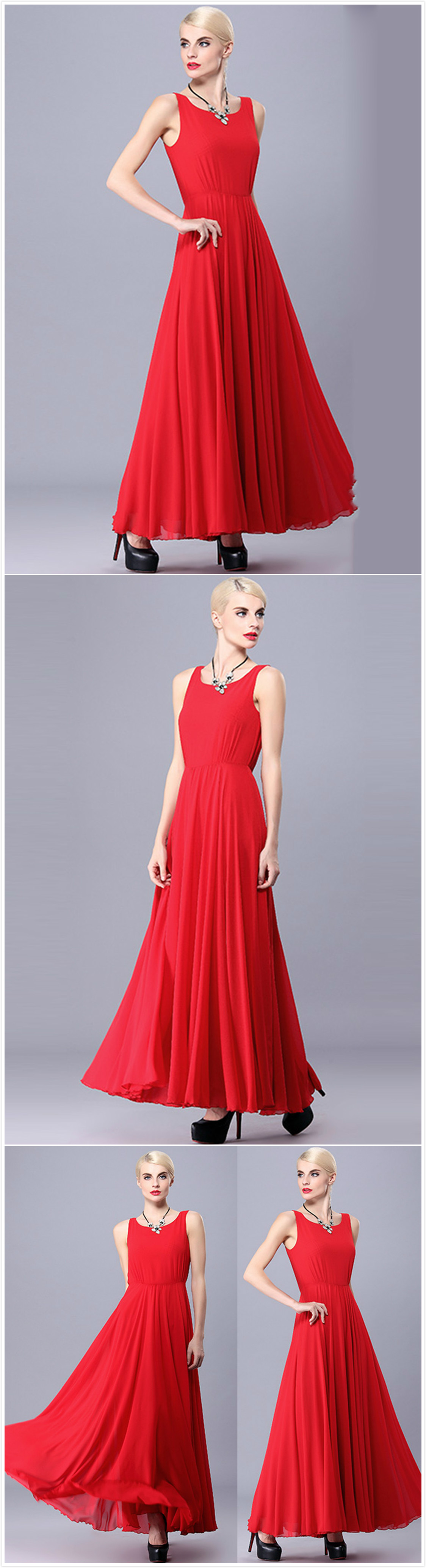 Sleeveless maxi evening wedding prom chiffon dress azbro