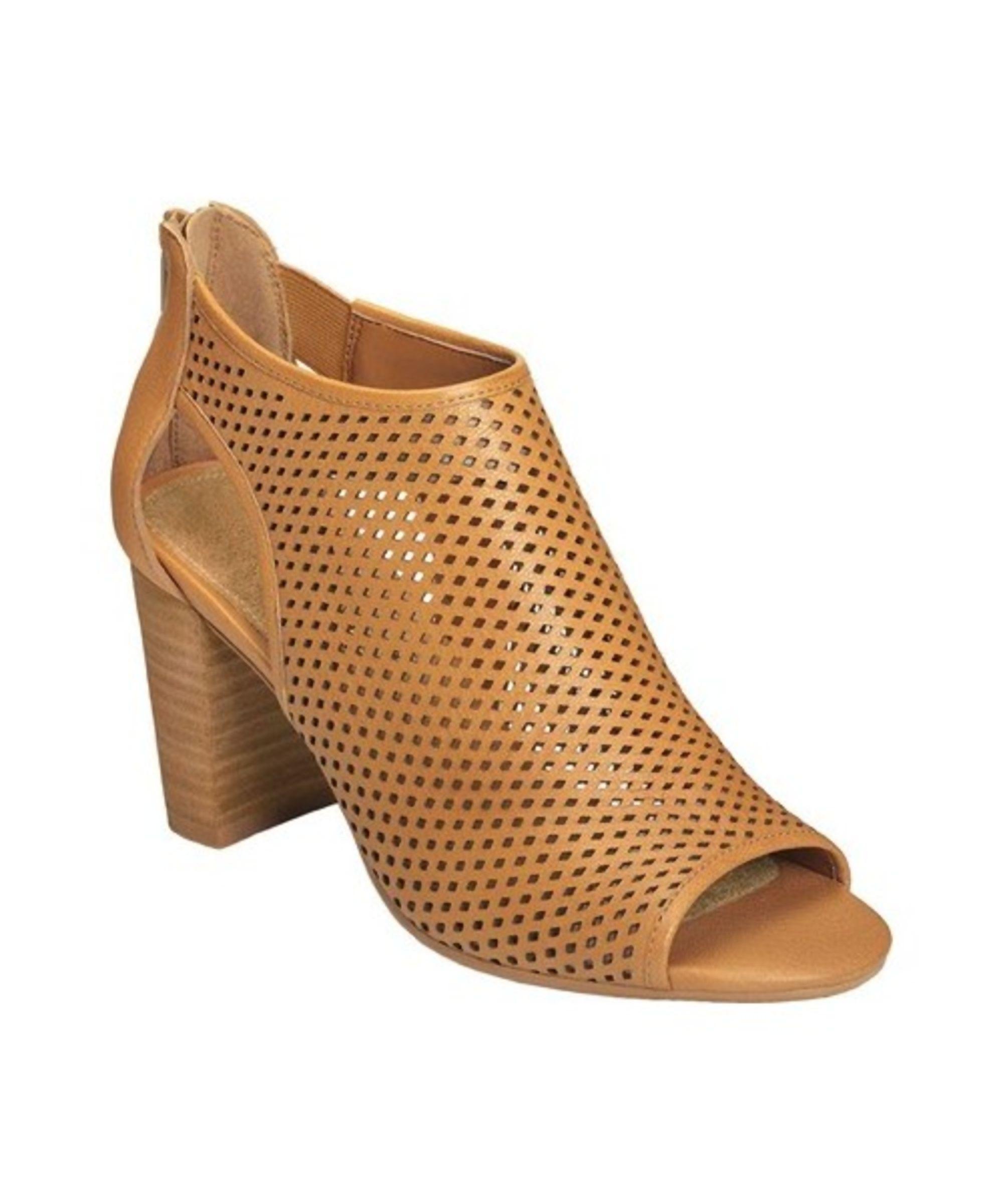 Aerosoles High Frequency Open Toe Bootie(Women's) -Dark Tan Leather Store Sale PKykyDrA