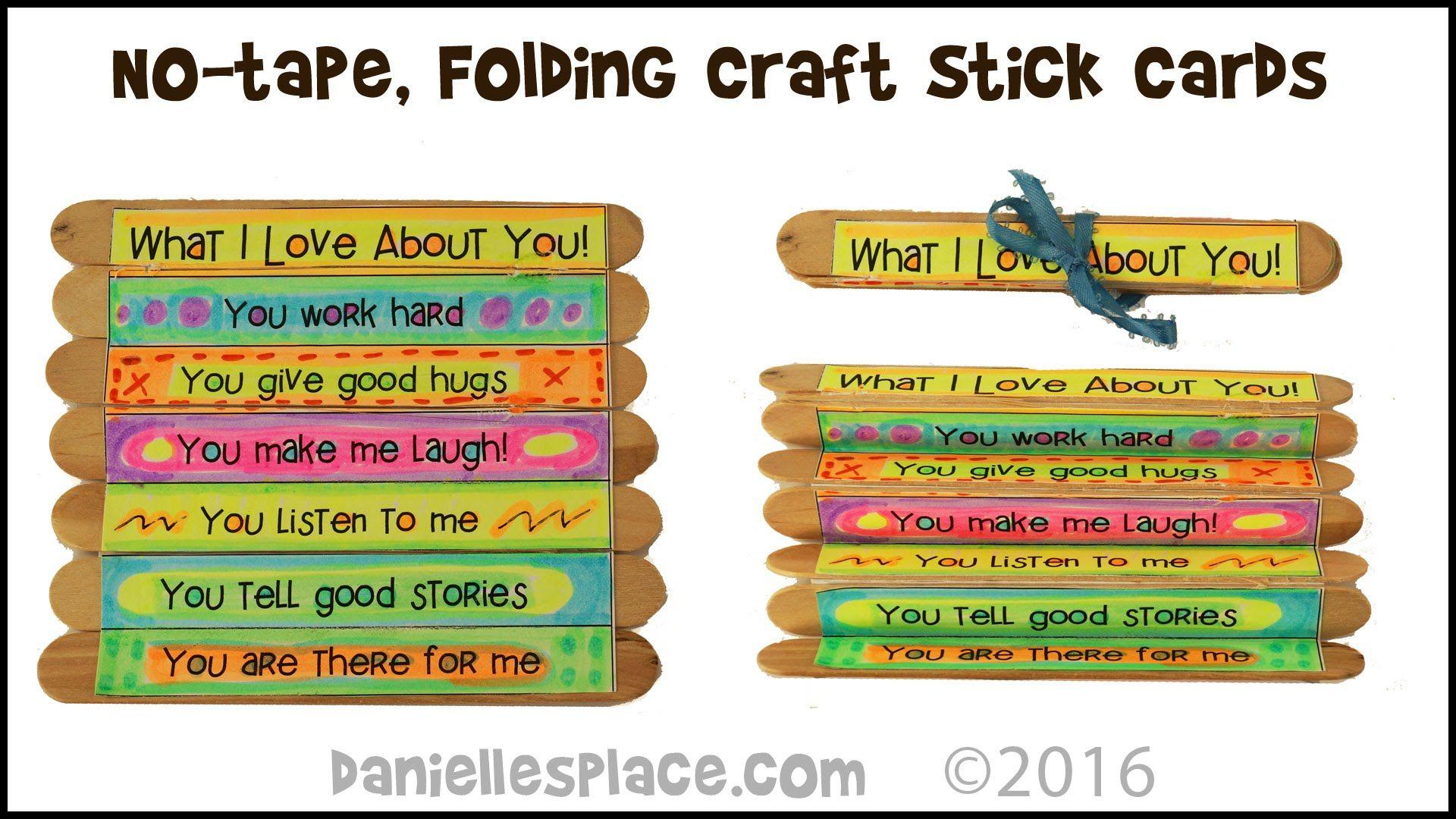 No Tape Folding Craft Stick Cards