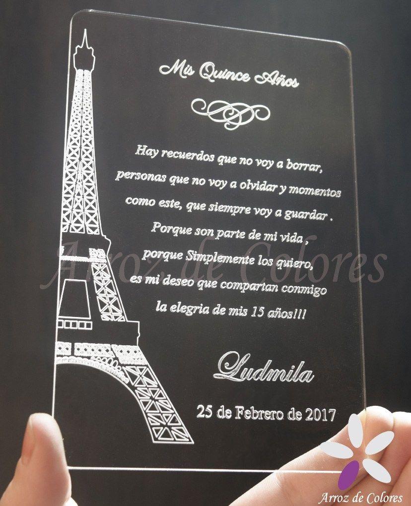 30 Invitaciones Torre Eiffel Caladas 15 Años Tarjetas Boda