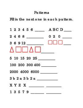 Kindergarten 1st Grade Finding Math Patterns Numbers Shapes Alphabet 1page Math Patterns Math Printables Math Work