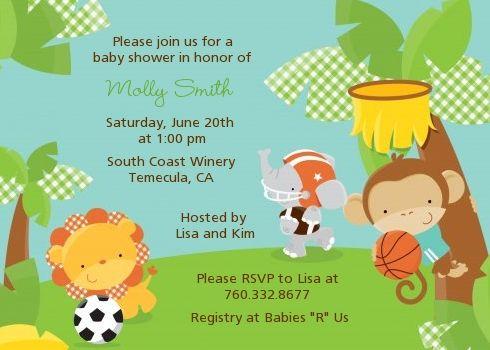 Team Safari Baby Shower Invitations Baby Shower Planning
