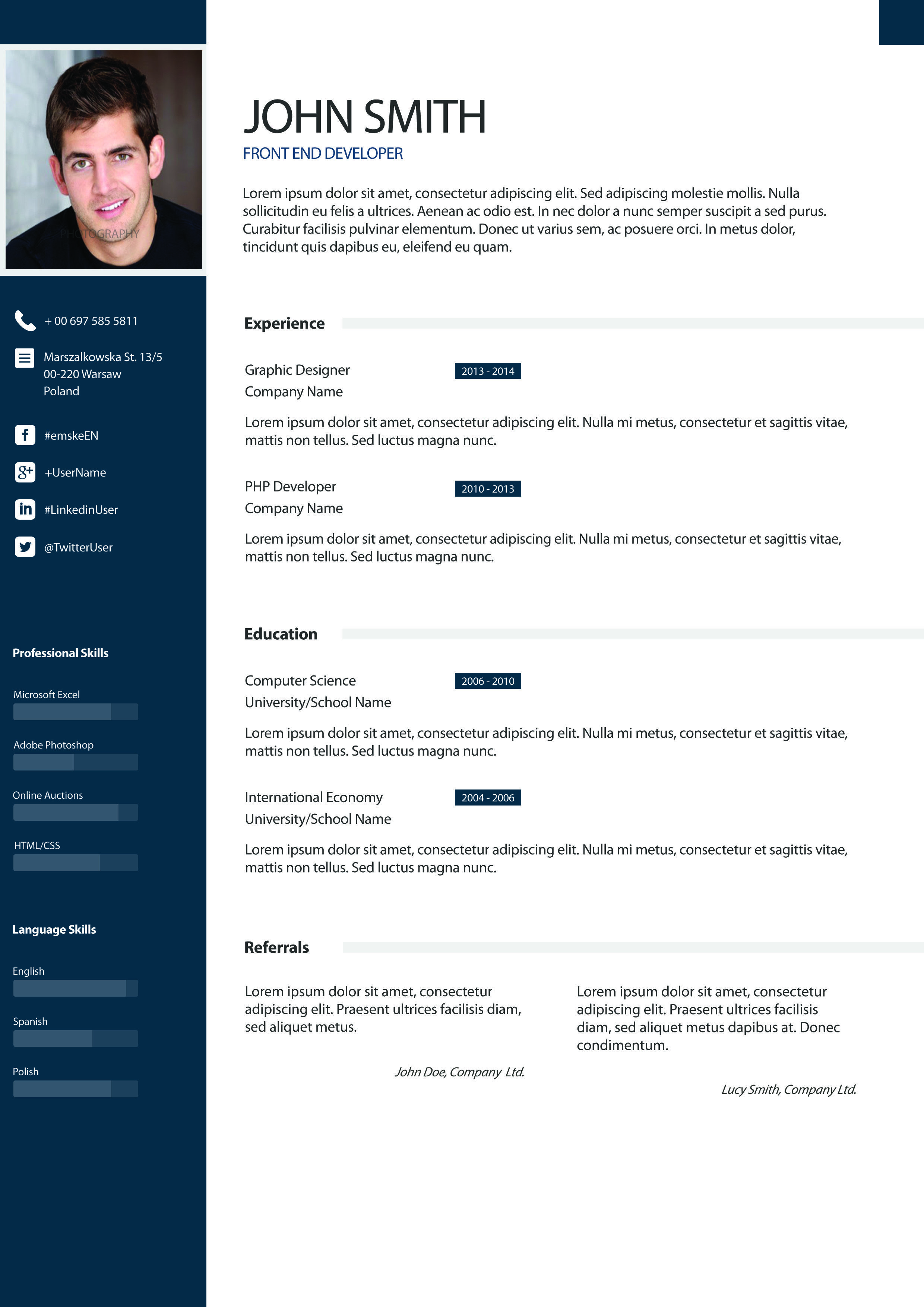 example of creative cv design layout