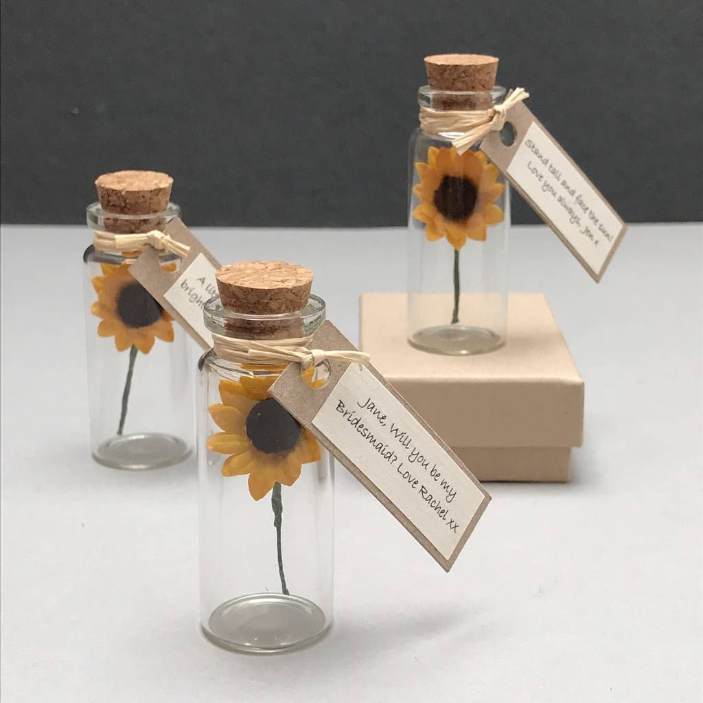 Tiny Sunflower In A Bottle With Personalised Message In