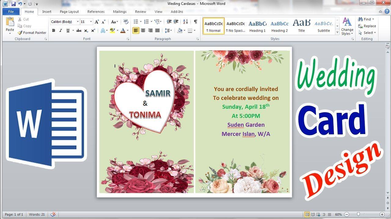 How To Make Wedding Card Design In Microsoft Word 2010 Wedding Card Design Card Design Wedding Cards