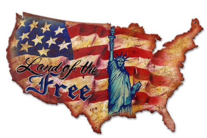 Land Of The Free Usa Custom Shape Metal Sign 25 X 16