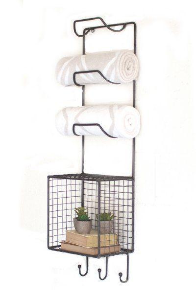 wire towel rack with basket shelf