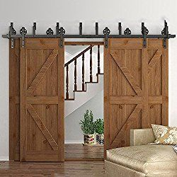 Homedeco Hardware Rustic 10 16 Ft Bypass 4 Doors Barn Door Hardware Sliding Black Steel Big Wheel Roller Track 16 Ft By Wohnung Schiebestallturen Scheunentore