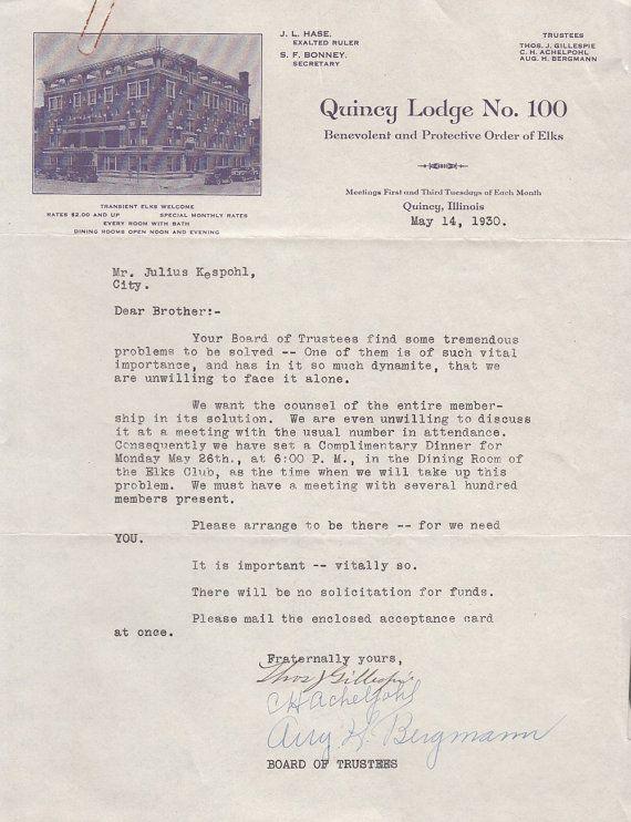 Bpoe Quincy Lodge No 100 Letterhead 1930 Quincy Il Order Of Elks