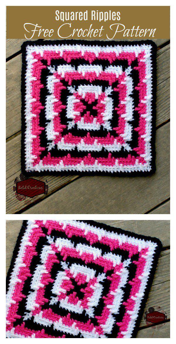 Squared Ripples Free Crochet Pattern | Ganchillo, Cuadrados y Ondulado