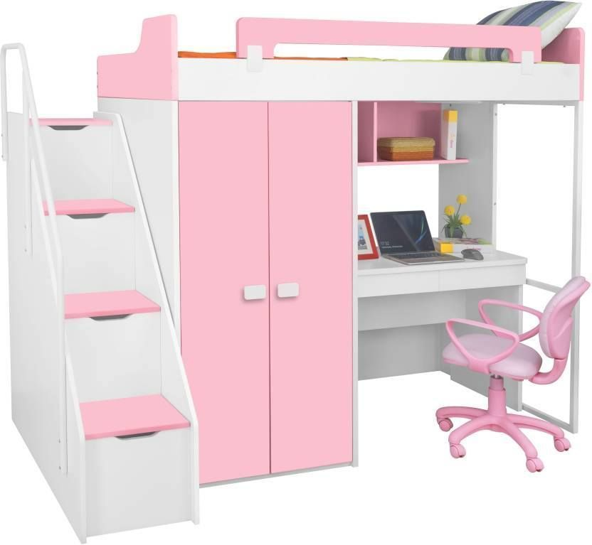Kids Twin Bunk Bed with Wardrobe This