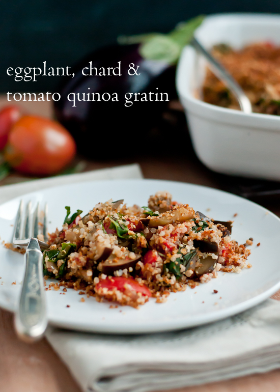 Eggplant Chard And Tomato Quinoa Gratin