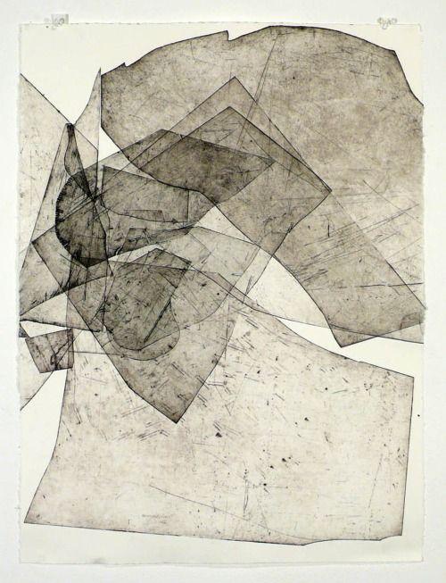 Batholith Etching, 2010 by Eben Goff, aluminum plate monoprint on Rives BFK, in welded aluminum frame, 55.9 x 76.2cm