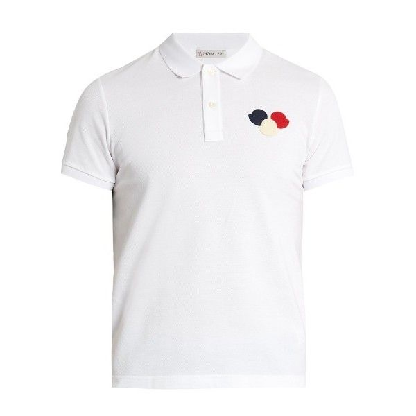 Moncler Cotton-piqué polo shirt ($195) ❤ liked on Polyvore featuring men's fashion, men's clothing, men's shirts, men's polos, white, mens slim fit shirts, ...