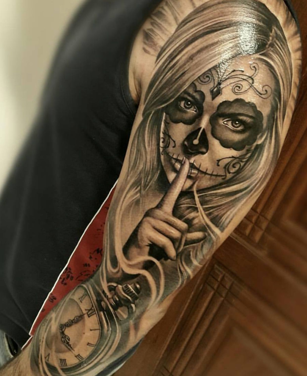 Day Of The Dead Tattoo Sleeve This Would Look Cool But I Would Want