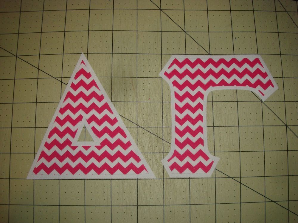 DELTA GAMMA SORORITY (NO SEW) 5 INCH IRON ON LETTERS - HOT PINK CHEVRON/WHITE