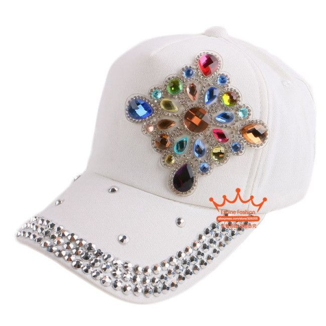 Popular baseball cap luxury bling floral flower rhinestone outdoor active snapback hats