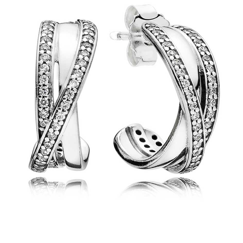 d8c127777 Pandora Entwined Half Hoop Earrings 290730CZ | Pandora Addict ...