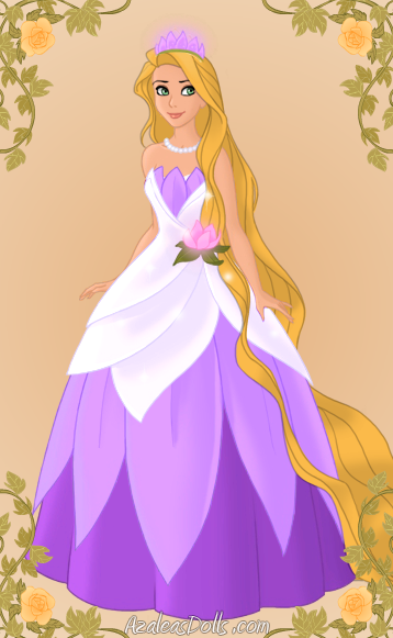 Photo of Rapunzel as Tiana for fans of Disney Princess. Rapunzel plays dress-up. Oops! She forgot the gloves...
