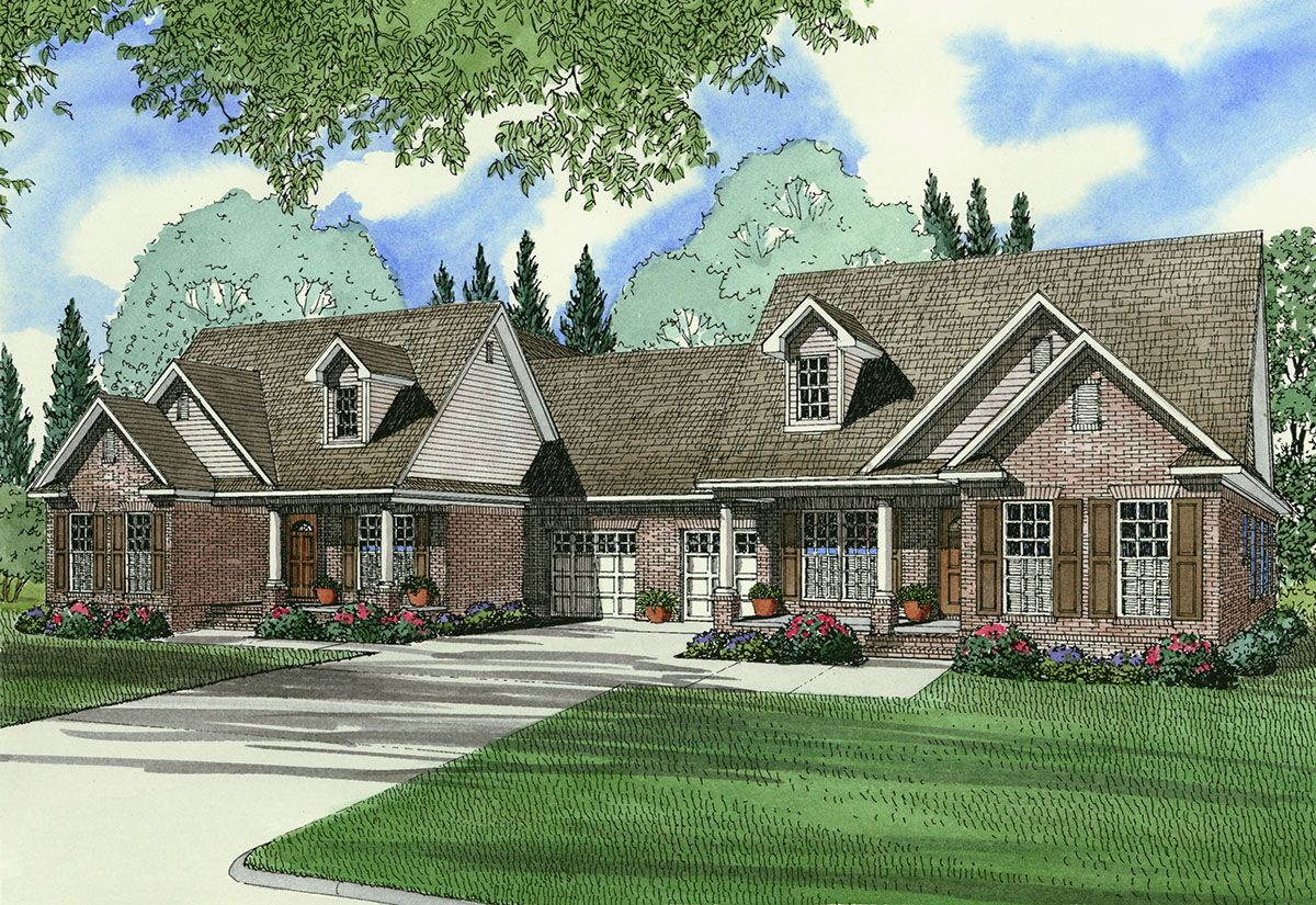 Plan 59315nd Traditional Duplex Home Plan Family House Plans Monster House Plans Duplex Floor Plans