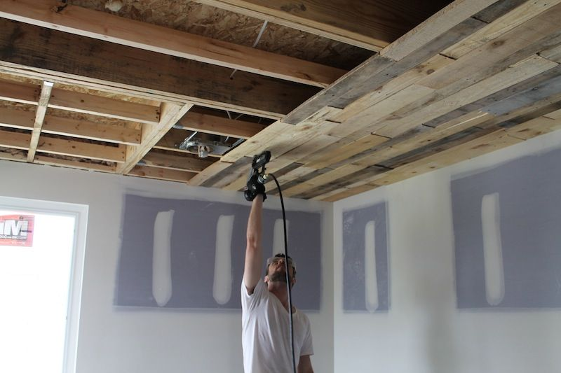 Pallet ceiling installation pallets ceilings and urban for Basement wood ceiling
