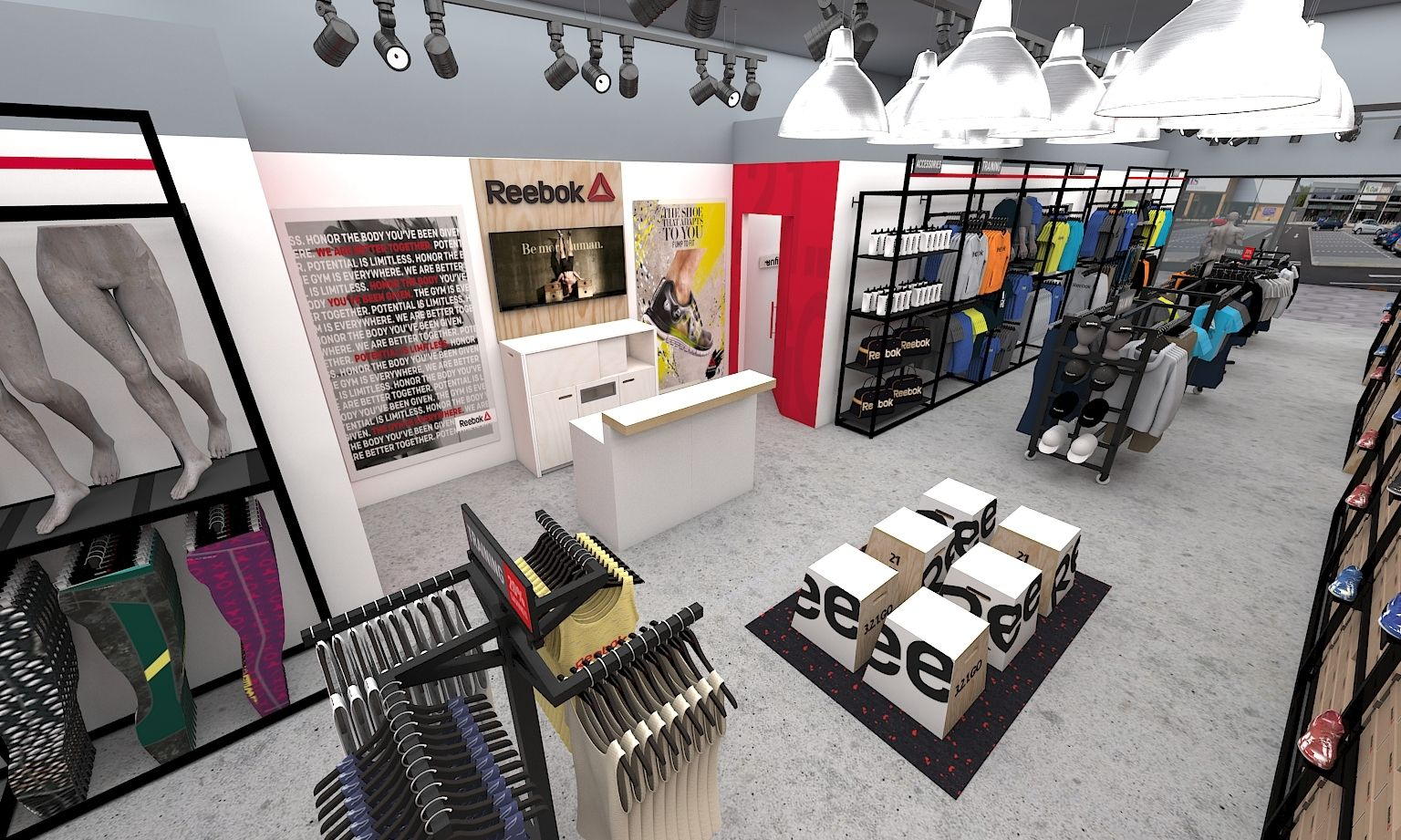3D render - Reebok China outlet store