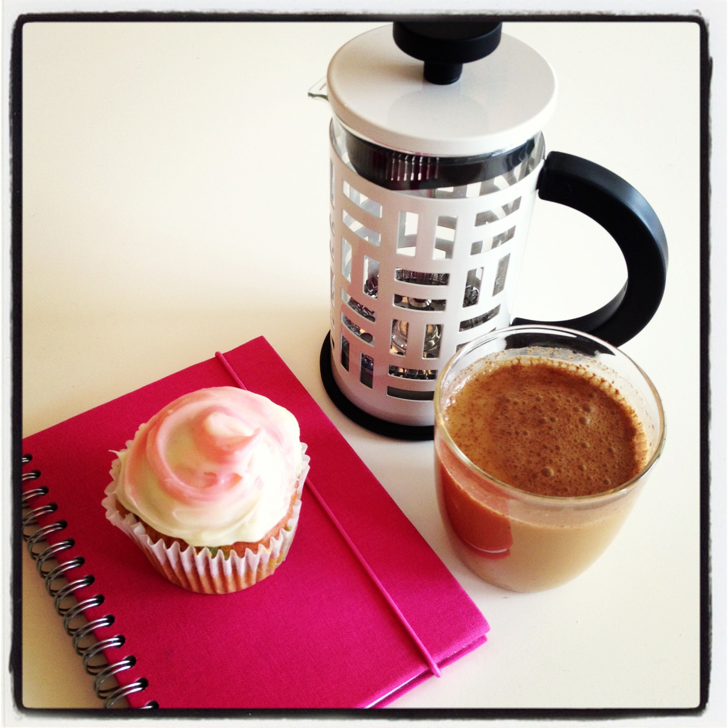 French Press coffee with a side of cupcake!