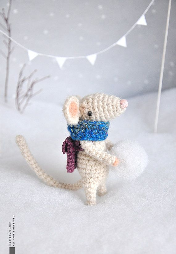 Eliot  Little Crocheted Mouse  Plushie  Stuffed toy  by eveluche, $80.00