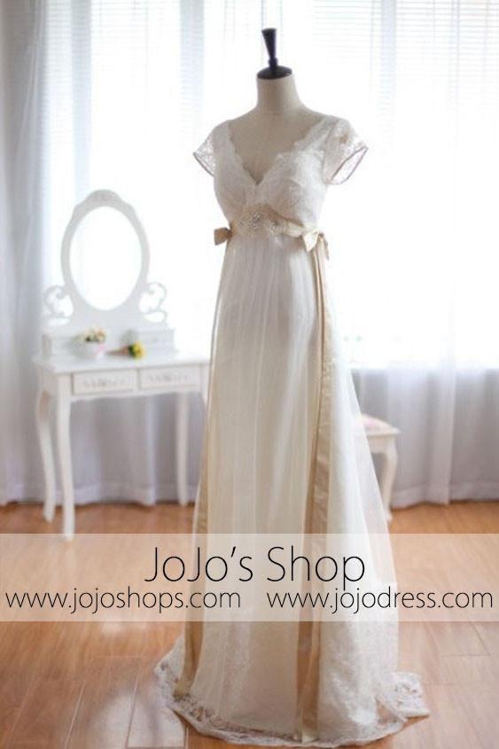 Low Back Vintage Wedding Dress Empire Waist Wedding Dress G8002 Empire Wedding Dress Empire Waist Wedding Dress Diy Wedding Dress