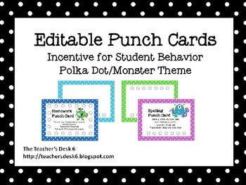 Editable Punch Cards Polka Dot Monster Theme Behavior Punch Cards Punch Cards Templates Printable Free