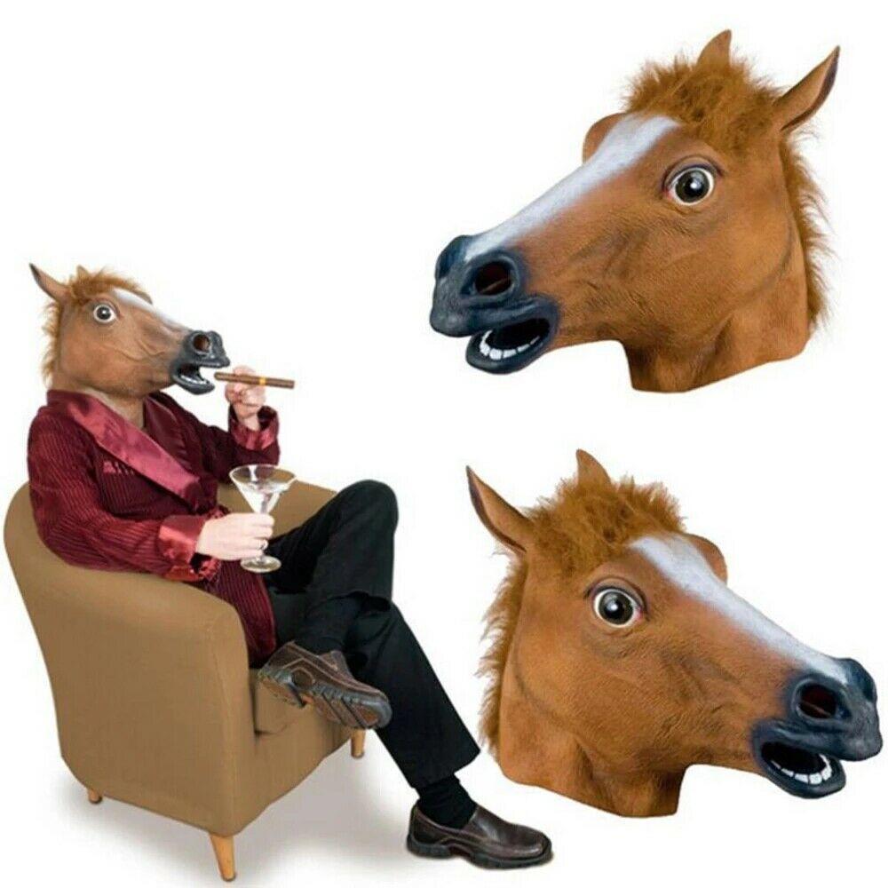 Masque /à t/ête de cheval Latex Brown for Fun or Party