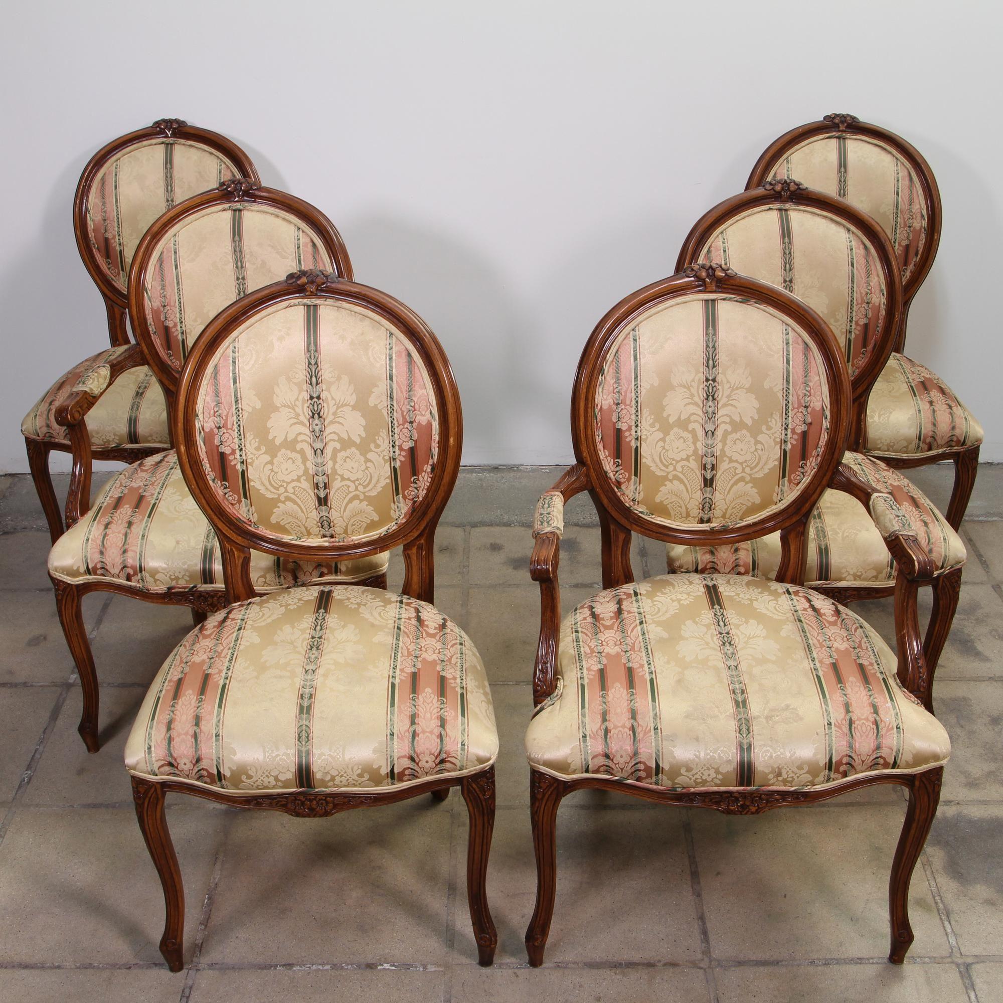 Set 6 Cherry Louis Xvi Dining Chairs