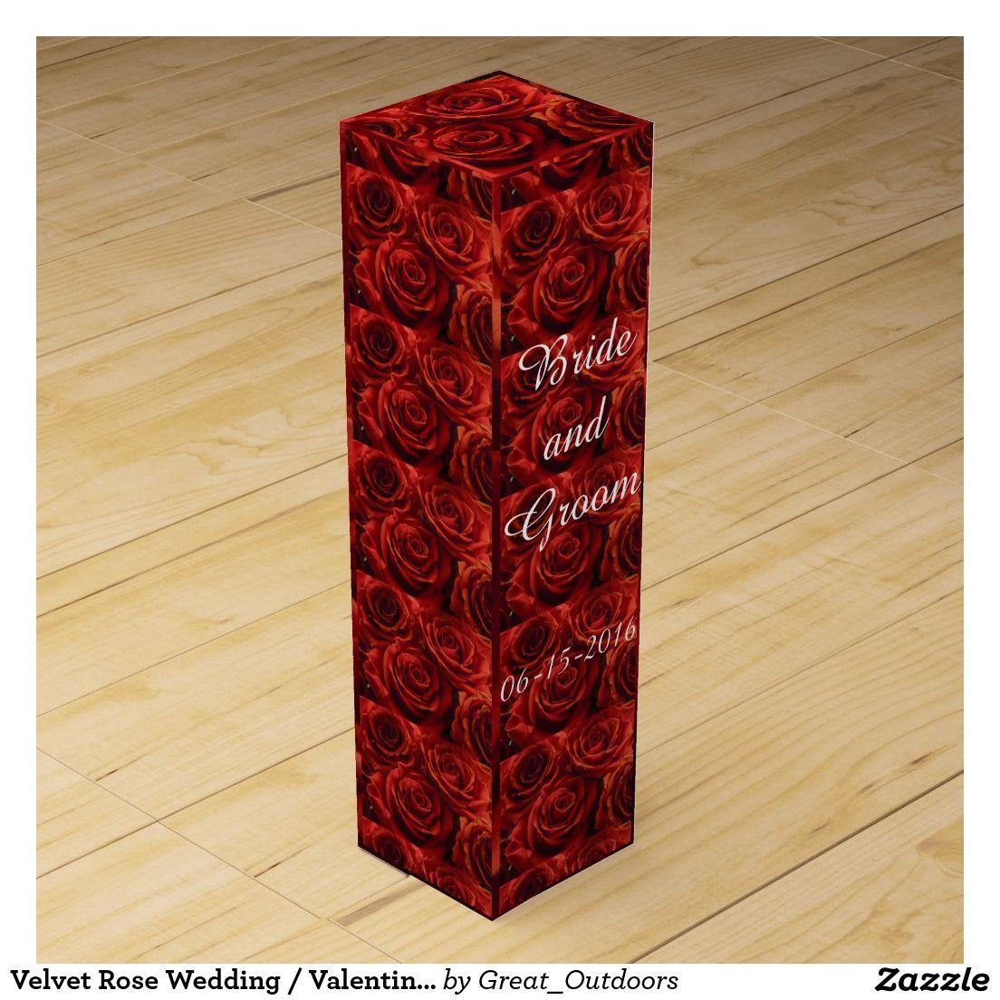 Velvet Rose Wedding Valentine Wine Gift Box Valentines Wine Wine Gift Boxes Wine Gifts