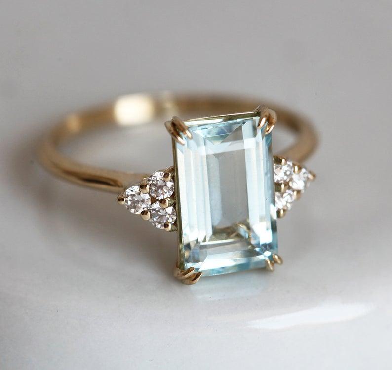 Anillo de compromiso de aguamarina de talla esmeralda, anillo de diamantes de aguamarina, oro sólido de 14 k