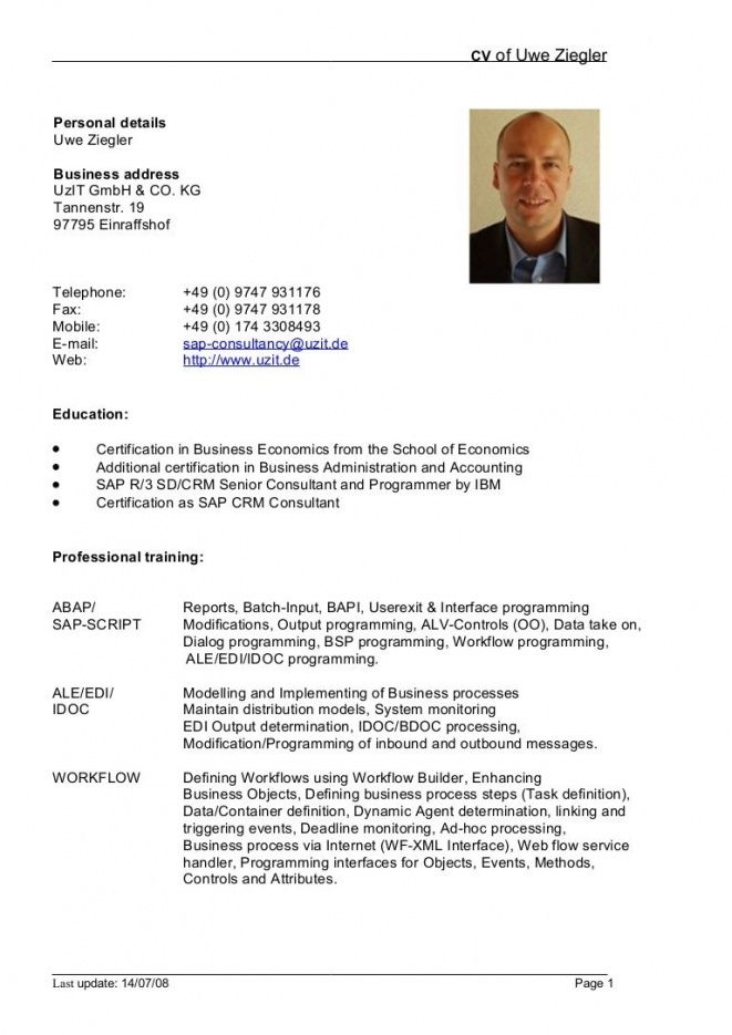 German Cv Template Doc Sample Resume Doc Thumbnail Bochpa Pinterest
