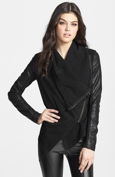 Womens Faux-leather and Knit Jacket BLANKNYC