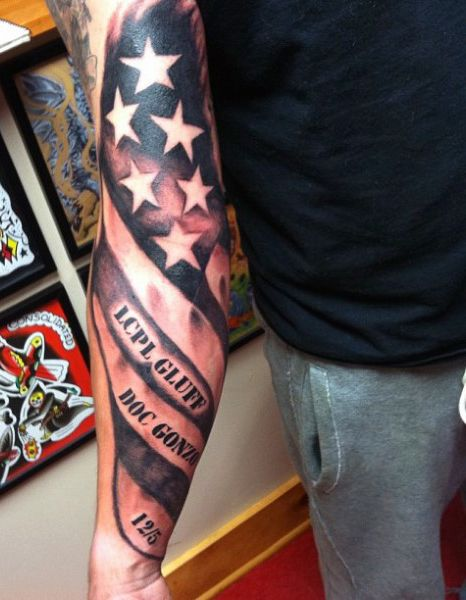 Back Of Forearm Guy With Eagle Tattoos With American Flag | Tattoos ...
