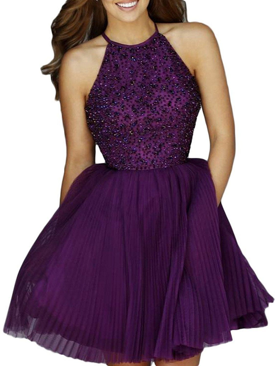 Ubridal Short Beading Keyhole Back Tulle Homecoming Dresses Prom Gowns >>> Startling review available here  : cocktail dresses