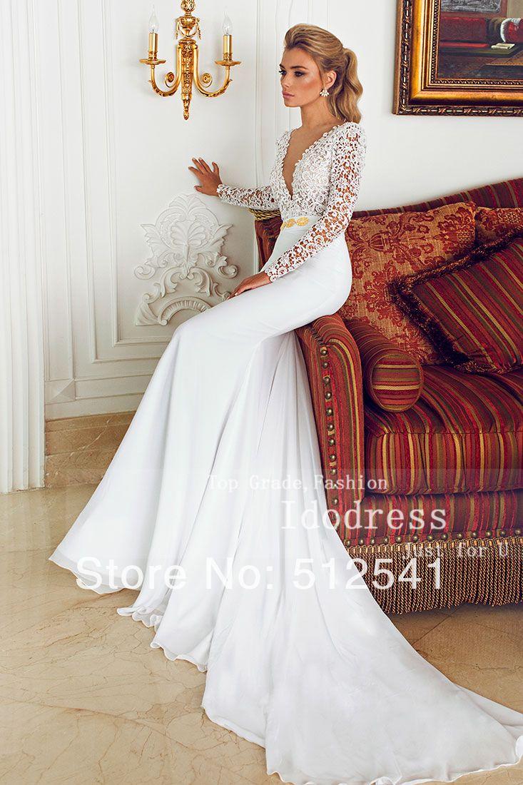 e1f8066d3daa 2015 hight quality manica lunga scollo a v tromba mermaid abiti da sposa in  chiffon pura del