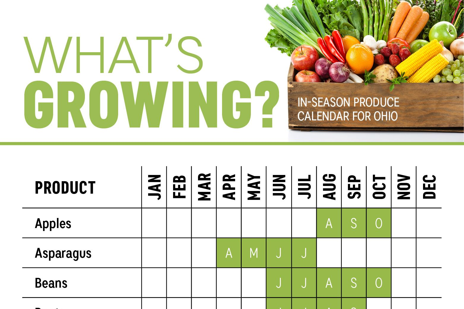 What S In Season Ohio Produce Calendar Infographic With Images