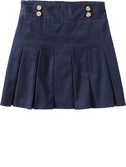 Girls Long Pleated Uniform Skorts | Old Navy
