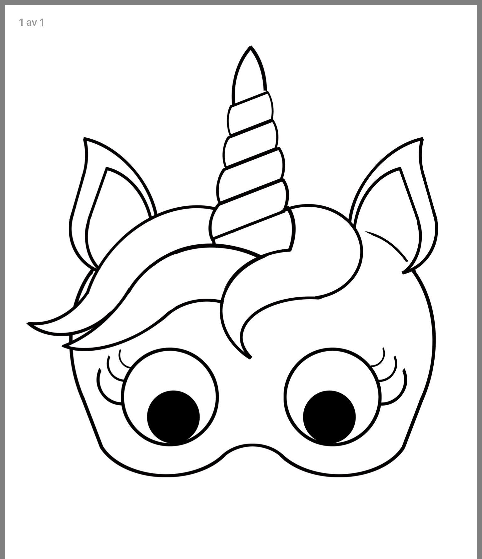 Pin By Veron T On Kresby Unicorn Mask Unicorn Mask For Kids